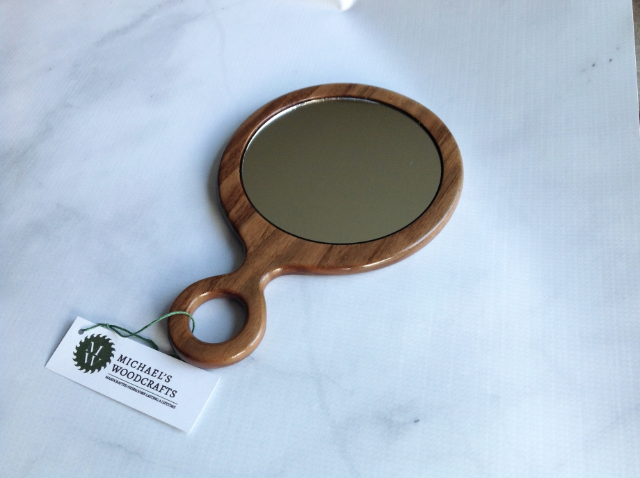 Personalized engraved, Walnut hand mirror, bathroom mirror, dresser hand mirrors handcrafted by Michael's Woodcrafts Greenville SC